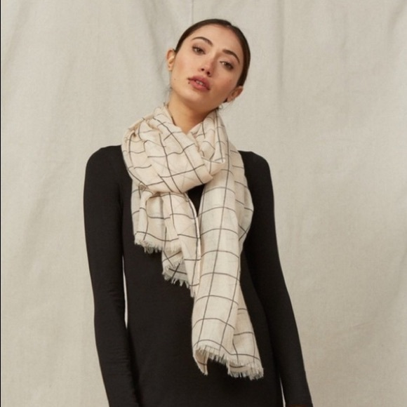 Rachel Pally Accessories - Rachel Pally Cream Window Pane Grid Sheer Scarf
